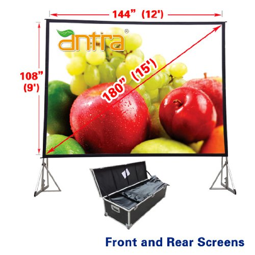- Antra PSD-180B 4:3 Fast Fold Projector Projection Screen with Front & Rear Projection Material on Heavy Duty Frame with Carry Case (4:3/12' x 9')