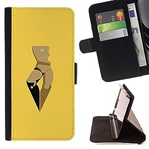 For Samsung Galaxy J3(2016) J320F J320P J320M J320Y Case , Mujer Amarillo Arte Minimalista- la tarjeta de Crédito Slots PU Funda de cuero Monedero caso cubierta de piel