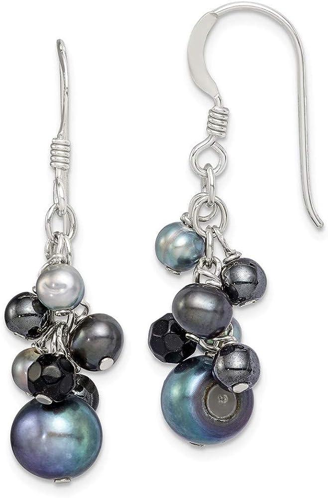 Saris and Things 925 Negro fw Perlas cultivadas y cuelga los Pendientes Onyx