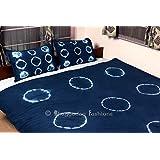 Bhagyoday Fashions - Shibori Blue Indigo Indian Duvet Cover - Queen Size Cover Boho Bedding Blanket - Hand Tie Dye Shibori Comforter Duvet Cover