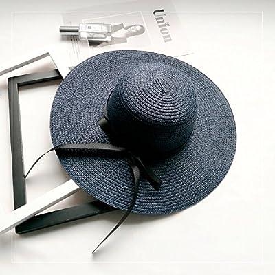 Les sports d'extérieur chapeaux femmes fashion loisirs plage pliage hat chapeau de soleil ,M (56-58cm), bleu marine - la courroie d'attache