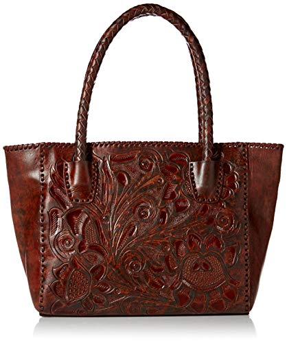 Mauzari Women's Leather Tote with Woven Handle (Parota)