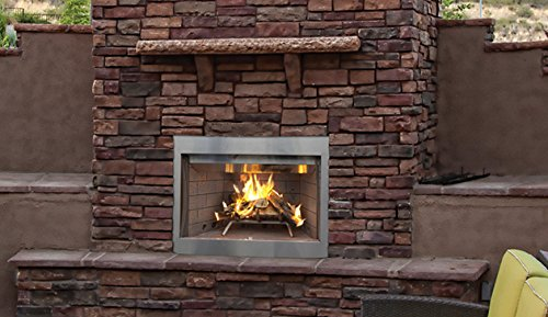 Superior WRE3036WH 36'' Outdoor Wood Burning Fireplace, White Herringbone Refractory Panels by Superior Fireplaces