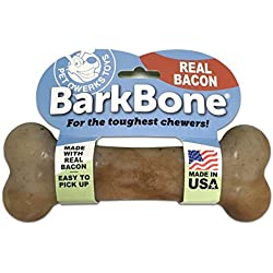 Pet Qwerks Bacon BarkBone Dog Chew Toys for Aggressive Chewers, Made in USA