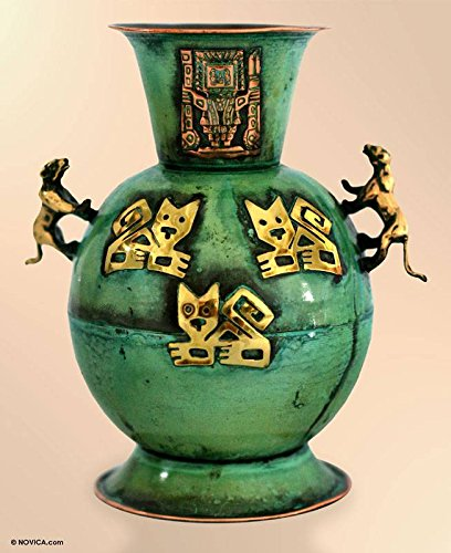 NOVICA Archaeological Copper and Brass Vase, Green, Cats And Jaguars' by NOVICA (Image #2)