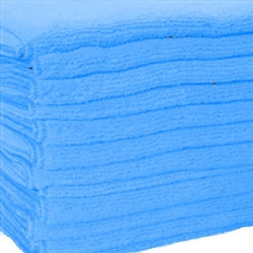 GHP Pack of 120 Blue Microfiber 16x16 Professional Grade Bulk Cloths