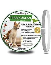 PROZADALAN Collare Antipulci per Gatti, 100% di ingredienti Naturali, Trattamento e prevenzione delle pulci e delle zecche di 8 Mesi, 35 cm Regolabile e Impermeabile, Taglia Unica per Tutti i Gatti