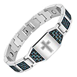 Men's Christian Cross Titanium Magnetic Bracelet with Blue Carbon Fiber by Willis Judd