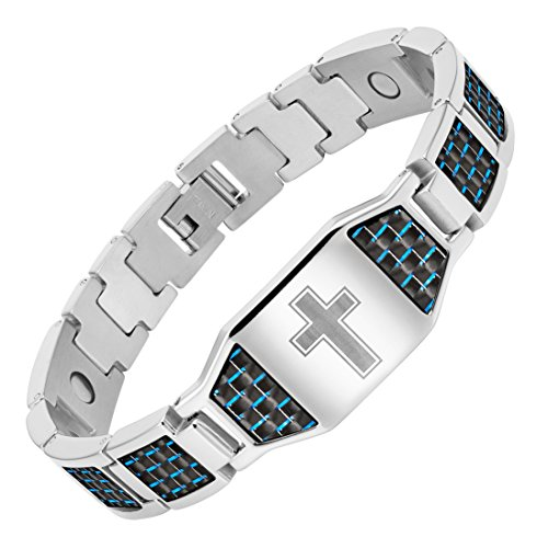 Willis Judd Men's Christian Cross Titanium Magnetic Bracelet with Blue Carbon Fiber ()