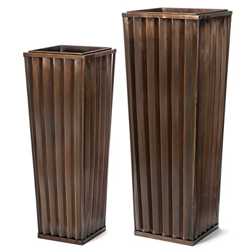 H Potter Planter Patio Deck Flower Ribbed Garden Planters Antique Copper Finish (SET OF TWO)