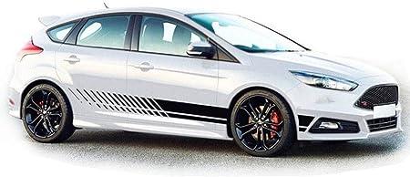 Wangscanis Universal Gestreifte Auto Aufkleber Car Racing Body Auto Karosserie Seitenstreifen Aufkleber Für Alle Autos Schwarz Auto