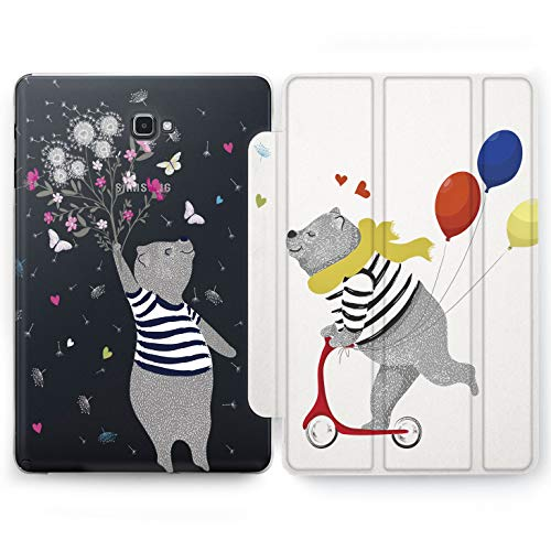 Wonder Wild Bear Couple Samsung Galaxy Tab S4 S2 S3 A Smart Stand Case 2015 2016 2017 2018 Tablet Cover 8 9.6 9.7 10 10.1 10.5 Inch Clear Design Riding Happy Love Relationship Butterfly Cute Sweet