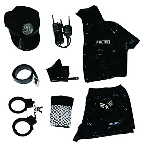 (Esquki Women Police Costume Dirty Cop Halloween Outfit (Set 1),One)