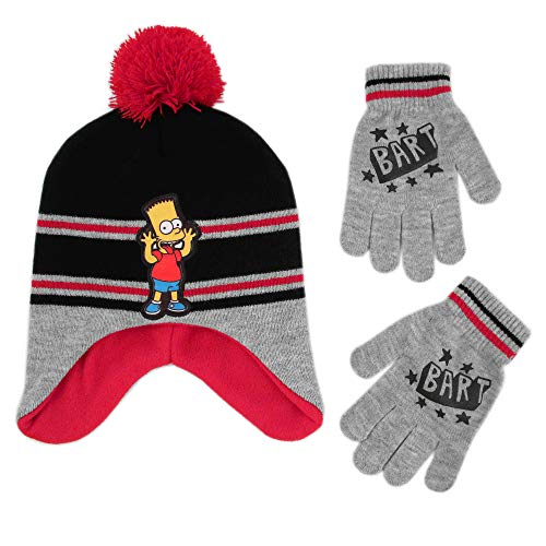 (The Simpsons Boys' Little Bart Hat and Gloves Cold Weather Set, grey/black/red, Age 4-7)