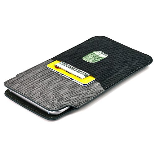 Dockem Luxe Wallet Sleeve for Samsung Galaxy S10, S9, S8; Synthetic Leather Card Case in Twill Canvas Style; Ultra Slim Professional Executive Pouch Cover with 2 Card Holder Slots, Black and Grey