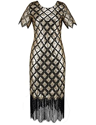 PrettyGuide Women 1920s Sequin Full Deco Cocktail Flapper Dress With Sleeve