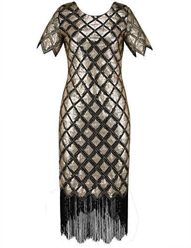 PrettyGuide Women 1920s Sequin Full Deco Cocktail Flapper Dress With Sleeve XL Gold (Sequin 1920s Dress)