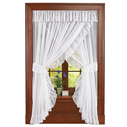 Collections Etc Isabella Ruffled Sheer Fabric Rod Pocket Window Curtain Set, -