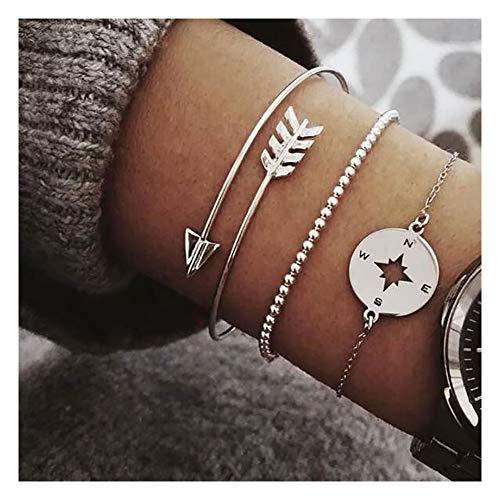 Gold Tone Bracelet Bead - VZBarn Dainty Inspirational Bracelets Set Arrow Compass Charm Bracelet for Women Gold Tone