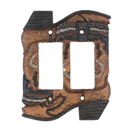 Rustic Switchplate Covers - Cowboy Boots Double Rocker Switch Plate Electrical Cover - Rustic Western Cowboy Boot Decor