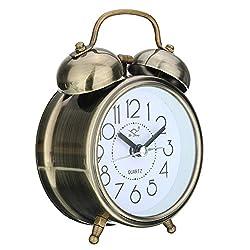 ink2055 Retro Silent Double Bells Quartz Movement Bedside Table Mini Alarm Clock