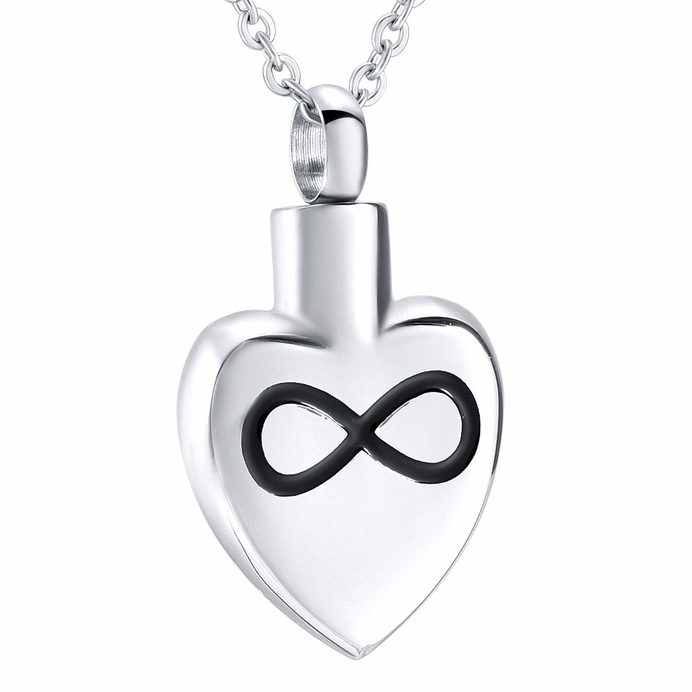 HLN8342 Infinity Logo Engraved Heart Urn-Pet Urn-Cat Urn-Dog Urn Stylish Memorial Jewelry Hold Ashes