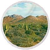 "Pixels Round Beach Towel With Tassels featuring ""Cardon Cactus Pachycereus Pringlei"" by Pixels"