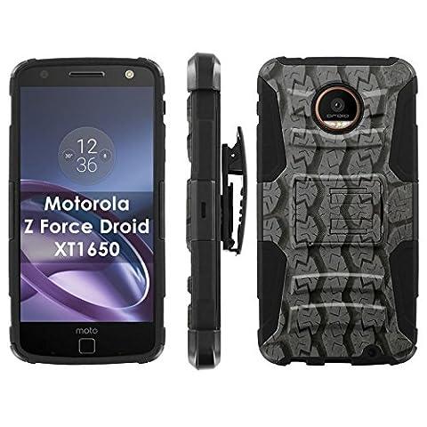 Motorola Moto [Z Force] Droid Phone Cover, Tire Tracks- Black Blitz Hybrid Armor Phone Case for [Motorola Moto [Z Force] Droid] with [Kickstand and (Track Phone Covers)