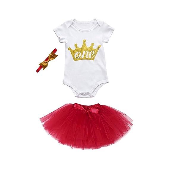QUICKLYLY 3pcs Peleles Camiseta Manga Corta Conjuntos Tutu Vestido Para Recién Nacido Bebé Niña Verano mamelucos