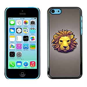 LASTONE PHONE CASE / Slim Protector Hard Shell Cover Case for Apple Iphone 5C / Lion Face Mane Yellow Big Cat Art Drawing Cartoon