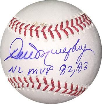 Dale Murphy Autographed Baseball - Official Major League NL MVP 82 83 minor bleed ) - Autographed Baseballs