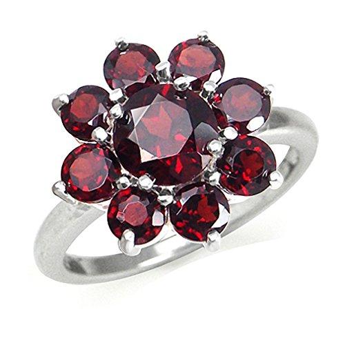 4.22ct. Natural Garnet 925 Sterling Silver Flower Cluster Ring Size 9