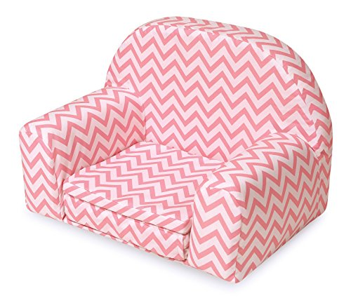 Foldaway Chairs - Badger Basket Chevron Upholstered Doll Chair with Foldout Bed (fits American Girl Dolls), Pink/White