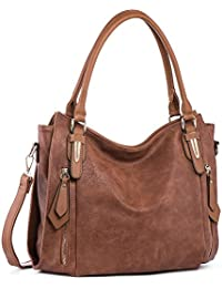 4fbc338e1877 Handbags for Women Shoulder Tote Zipper Purse PU Leather Top-handle Satchel  Bags Ladies Medium