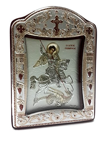 Saint St George Silver 925 Icon Greek Orthodox Plaque Gold Plated Picture 4.1