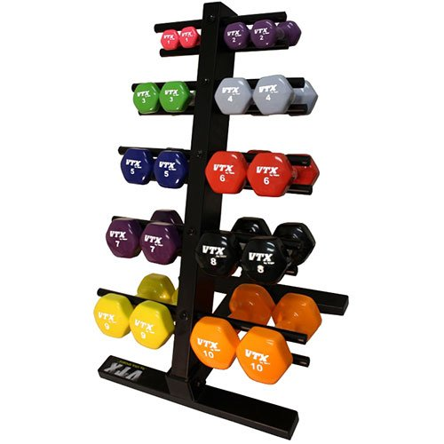 VTX by Troy Barbell Vinyl 1-10 lb. Dumbbell Set with Rack by VTX