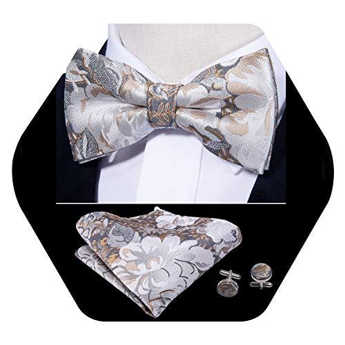 Barry.Wang Mens Silver Bow Tie Pocket Square Cufflinks Set Mens Floral Silk Necktie Set