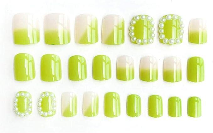 24 Piezas De Uñas Postizas De Color Verde Aguacate Puntas De Uñas ...