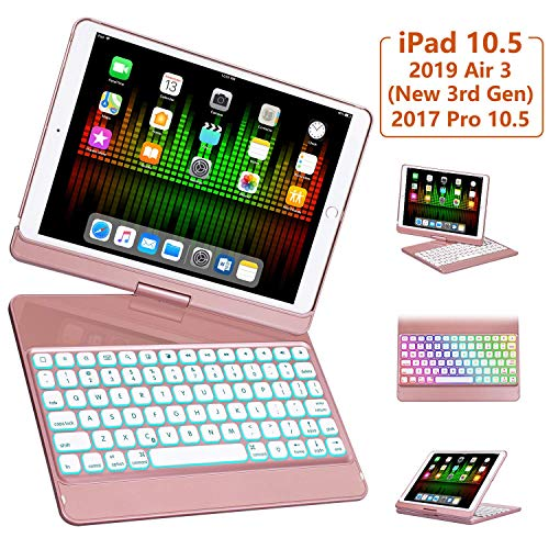 iPad Pro 10.5 Case with Keyboard 2017/ iPad Air 3rd Gen Case with Keyboard 10.5 2019, 360 Rotate 7 Color Backlit Wireless Folio Keyboard Case Cover, Auto Wake Sleep/Silent Typing, Rose Gold (Ipod Case Touch Barbie)