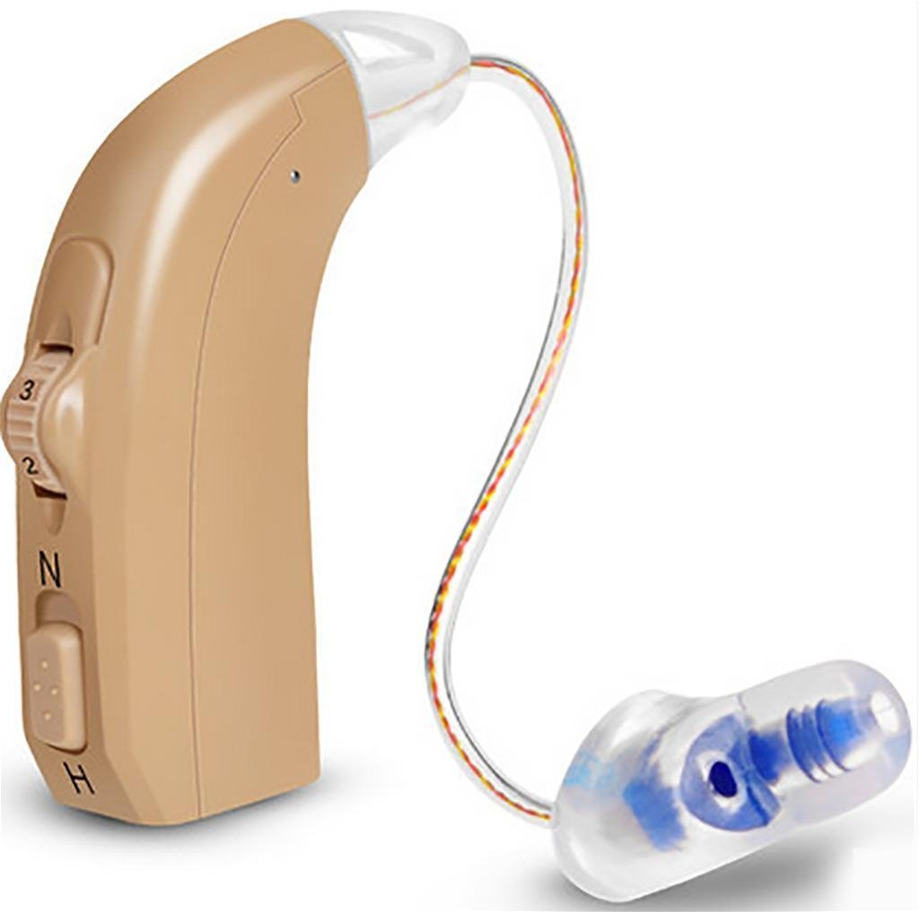 The hear amplify Digital Micro behind the ear prostheses auditory blue to red on the left to the right of the EAR, Blue