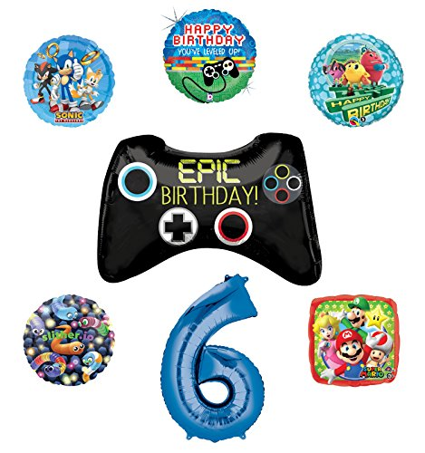 Video Gamers 6th Birthday Party Supplies and Balloon Decorations (Sonic, Super Mario, Pac Man and Slither.io) -