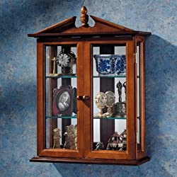 Design Toscano Glass Curio Cabinets - Amesbury Manor - Wall Mounted Curio Cabinet