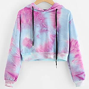 Women Colorful Printing Hoodie Sweatshirt Crop Top Ladies Long Sleeve Shirt Jumper Pullover Tops Blouse for women Teens on Sale Clearance (Purple, Small)