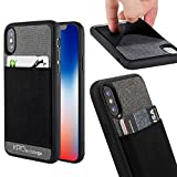 iPhone X Wallet Case, KASOworkshops Fabric Credit Card Holder Strap Carrying Case Shockproof Cover Fashion Design for Apple iPhone X with High Performance Elastic Pocket (Dark Grey)