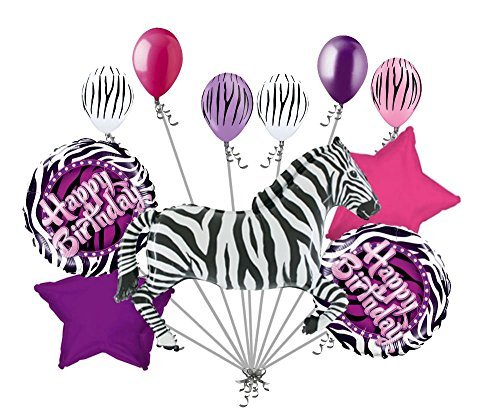 11pc Zebra Balloon Bouquet Happy Birthday Decoration Safari Jungle Animal Purple ()