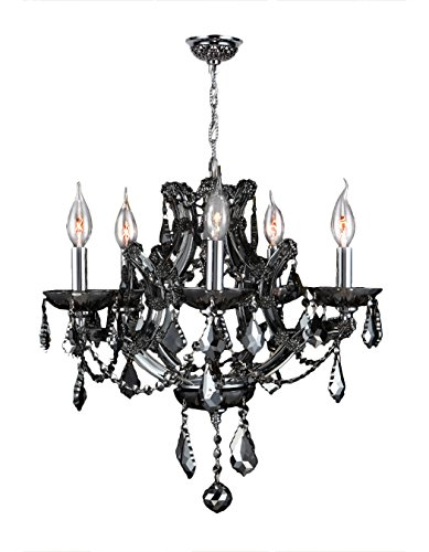 Worldwide Lighting Lyre Collection 5 Light Chrome Finish and Smoke Crystal Chandelier 19