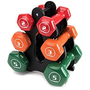 Crown Sporting Goods Set of 3 Pairs of Brightbells Vinyl Hex Hand Weights: Colorful, Tropical Coated Non-Slip Dumbbell Free Weight Sets - Home & Gym Equipment, Shape - 2, 3, 5 lbs.