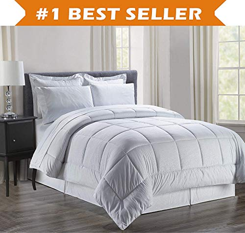 Luxury Bed-in-a-Bag Comforter Set on Amazon! Elegant Comfort Wrinkle Resistant - Silky Soft Beautiful Design Complete Bed-in-a-Bag 8-Piece Comforter Set -Hypoallergenic- King White
