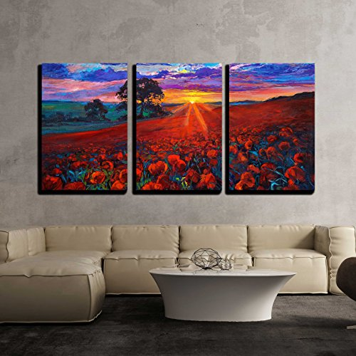 Painting of Opium Poppy Field in Front of Beautiful Sunset x3 Panels