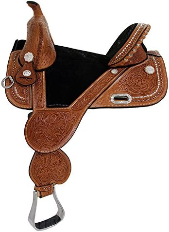 Circle Y Tammy Fischer Treeless Barrel Racing Saddle 4454-5 14.5 inch, Rust Suede Seat, Regular Oil, Wide Tree